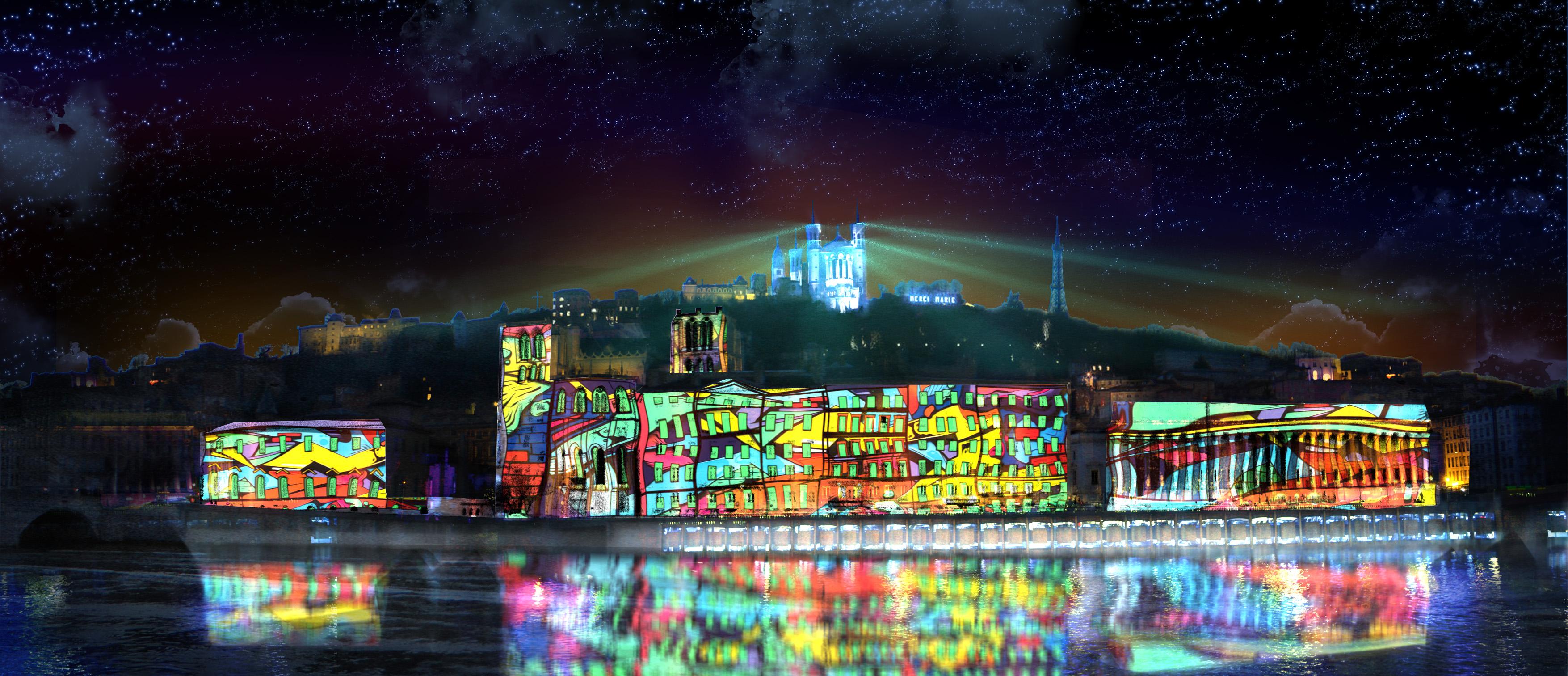 Fête des Lumières 2018 à Lyon : colline de Fourvière