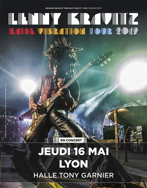 Lenny Kravitz en concert le 16 mai 2019 à la Halle Tony Garnier.
