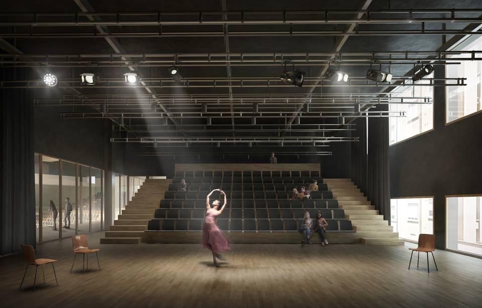 n studio dans les Ateliers de la danse, qui devaient être aménagés dans l'ancien musée Guimet à Lyon. — Ateliers d'architectes Pierre Hebbelinck et Hart Berteloot AAT