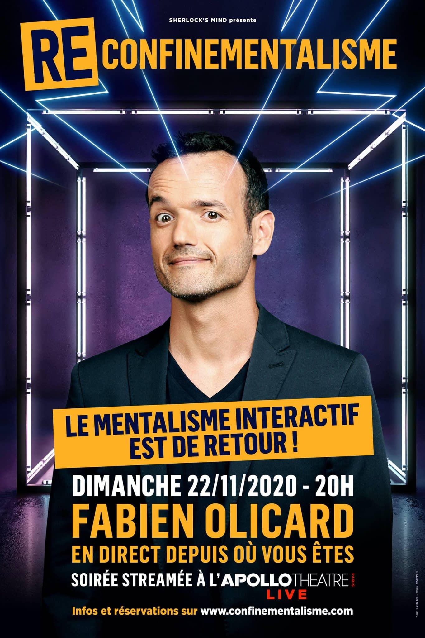 Reconfinementalisme : spectacle de mentalisme de Fabien Olicard, le 22 novembre 2020