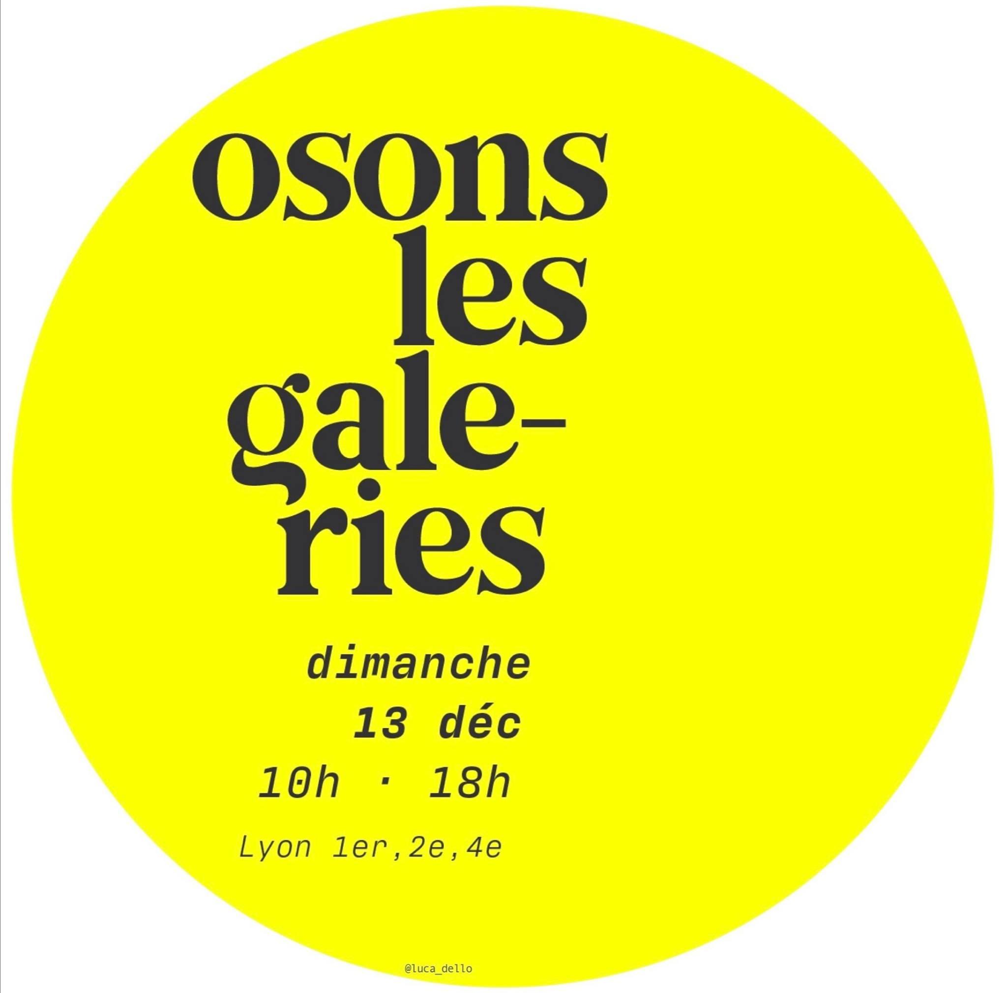 Osons les galeries ! le dimanche 13 décembre à Lyon